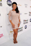 Jordin Sparks played up her feminine side in a lacy, sleeved Diane von Furstenberg minidress and T-strap sandals.