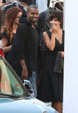 Kim Kardashian and Kanye West looked cute together on the set of Kim's photo shoot.