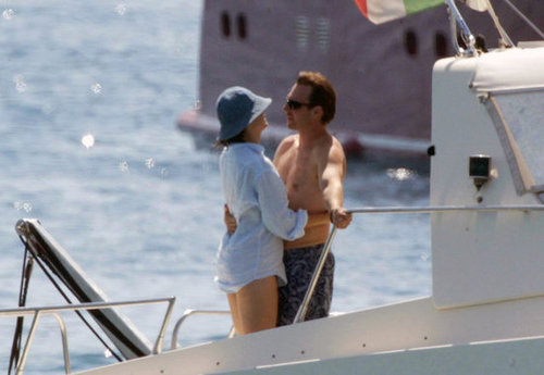 Christian Slater and Ryan Haddon shared a romantic moment on a yacht while vacationing in Italy in July 2004.