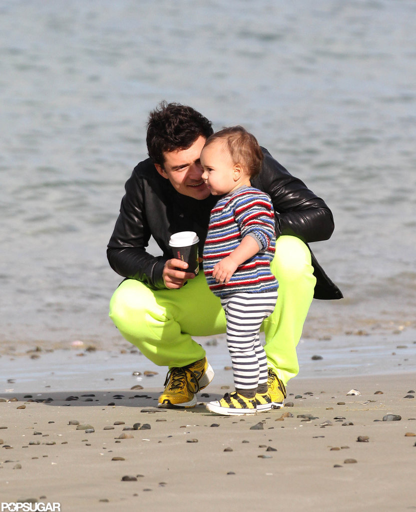 Orlando Bloom hung out on the beach with his son Flynn.