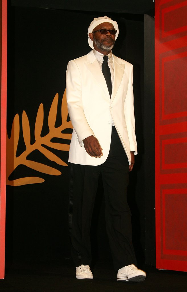 Samuel L. Jackson walked onto the stage at the Palme d'Or Award closing ceremony during the 59th Cannes Film Festival in 2006.