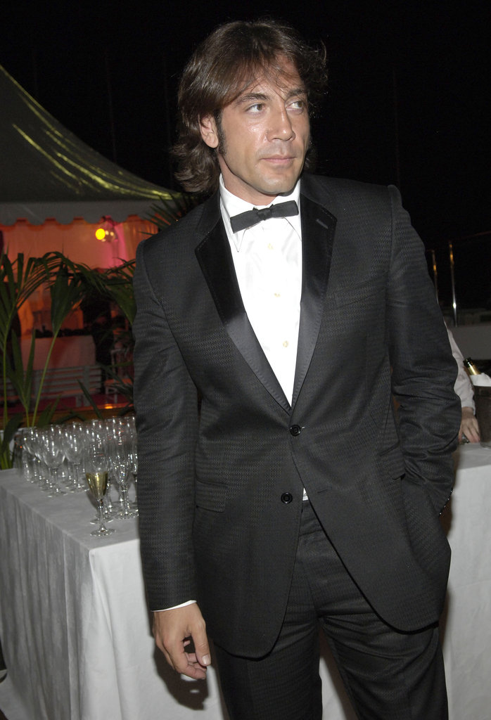 Javier Bardem went black tie on a boat in Cannes in May 2005.