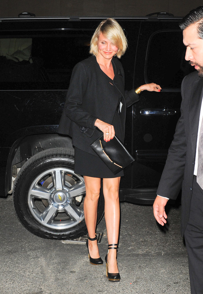 Cameron Diaz showed off her figure in a short black dress.