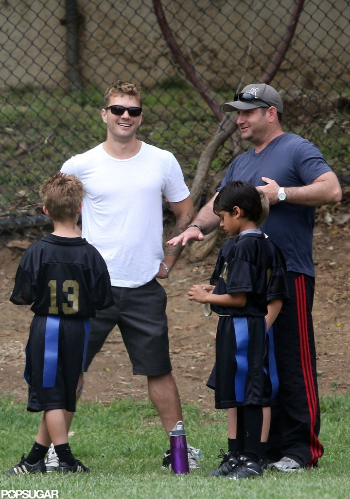 Ryan Phillippe helped coach his son's flag football team.