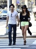 Ian Somerhalder and Nina Dobrev sipped on drinks from Starbucks during a walk through NYC.