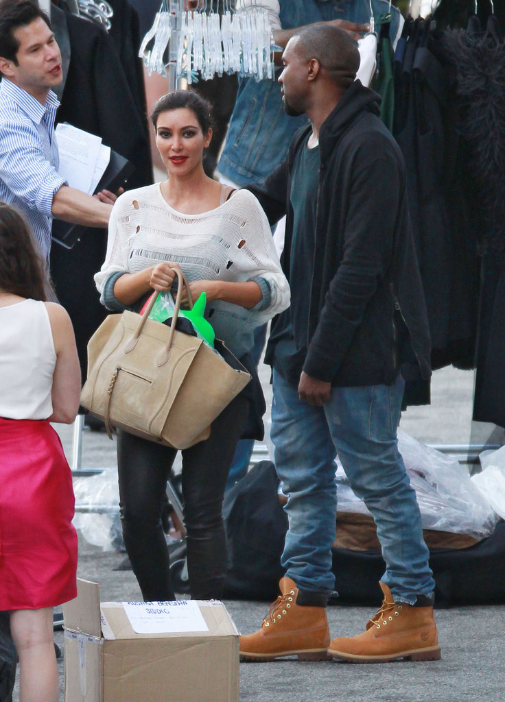 Kim Kardashian  and Kanye West collected Kim's things on set.