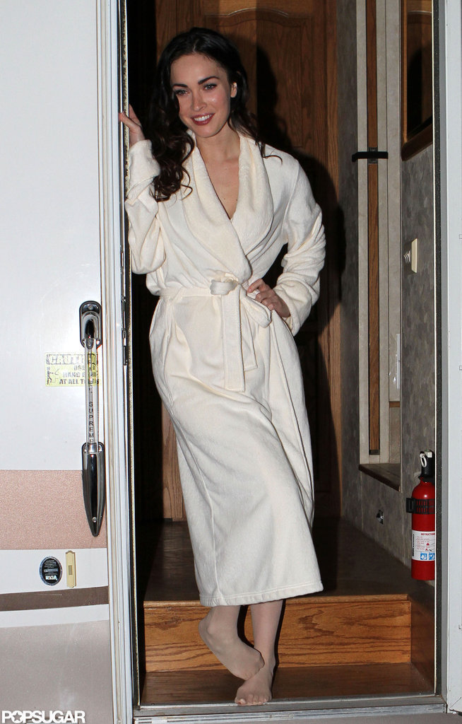 Megan Fox posed in a bathrobe on the Santa Fe set of Passion Play in January 2010.