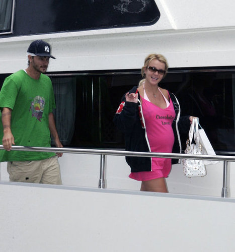 A pregnant Britney Spears boarded a yacht with then-husband Kevin Federline in Marina Del Rey in July 2005.