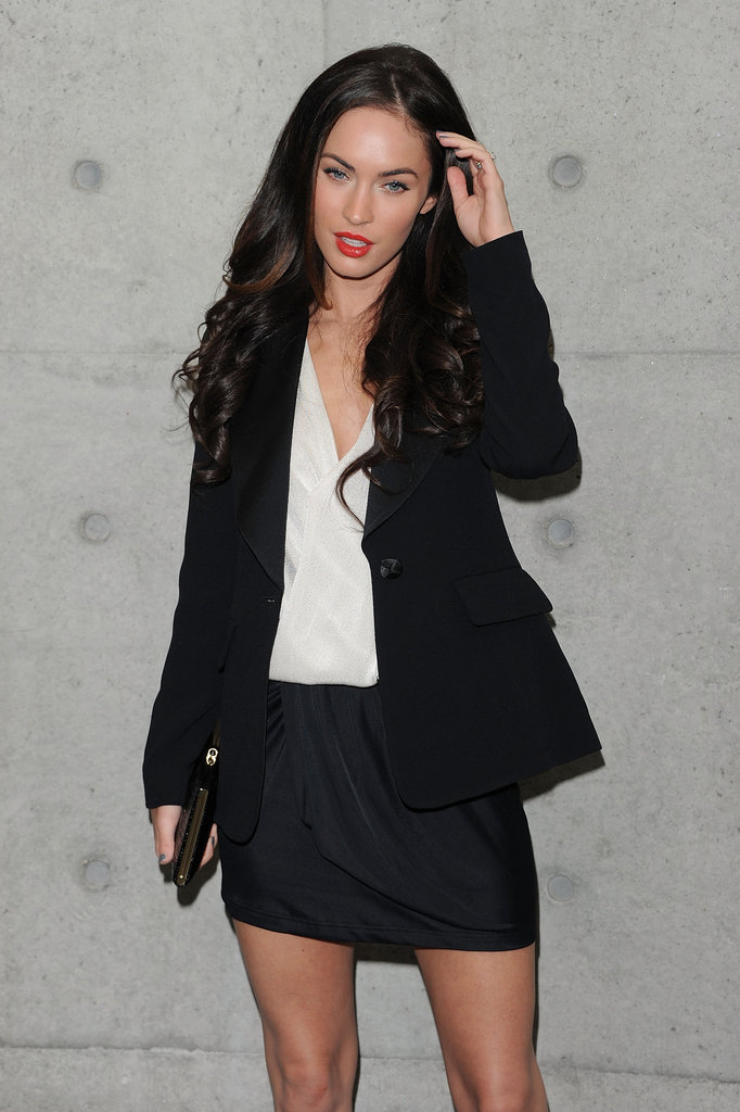 Megan Fox struck a sexy pose before a September 2009 Armani fashion show.