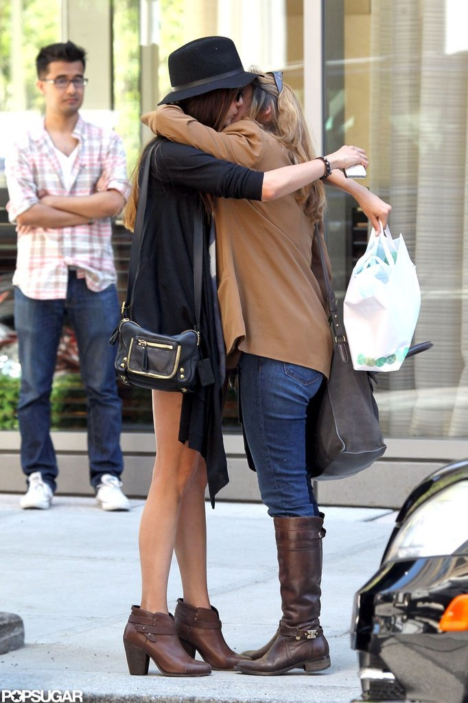 Nina Dobrev gave her mom a big hug for Mother's Day in NYC.