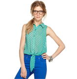 Style this quirky-cum-ladylike top with a pleated skirt for the office or opt for something a bit more funky by wearing with a pair of neon jeans and high tops. Bar III Sleeveless Collar Polka Dot Top ($49)
