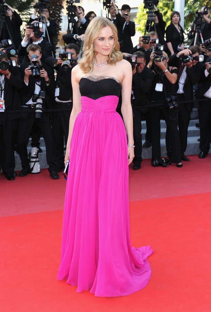 She chose a strapless black and fuchsia-hued Jason Wu dress for the 2010 Palme d'Or Awards closing ceremony. To polish off the look, she wore a star necklace and carried a blue Roger Vivier clutch.