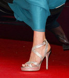Kate opted for the same Jimmy Choos she wore just a few days before to complement her creamy Roland Mouret gown.