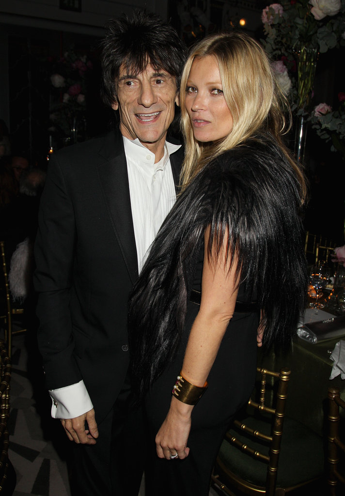 Kate Moss posed with The Rolling Stones' bassist Ronnie Wood at the event.
