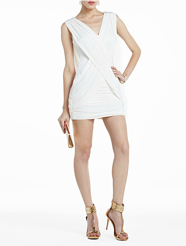 BCBG Max Azria Shirred V-Neck Dress ($198)