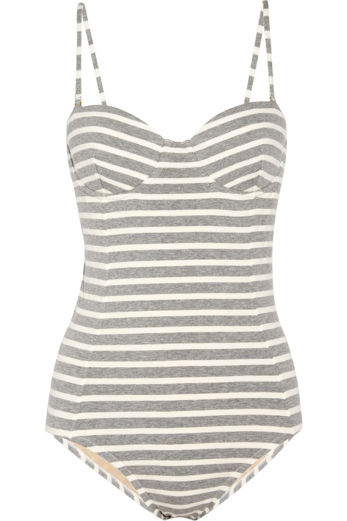 How great is this striped one-piece? Layer it with colorful cuffed shorts. J.Crew Striped Stretch-Cotton Swimsuit ($98)