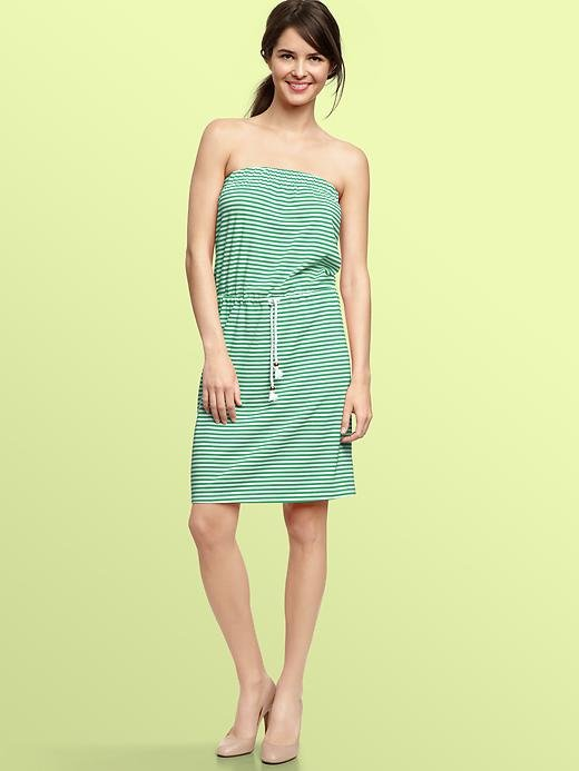 What makes this striped dress great is the built-in, nautical-inspired rope belt.  Gap Striped Strapless Dress ($65)