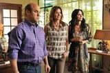 Christa Miller, Courteney Cox, and Ian Gomez on Cougar Town. Photo copyright 2012 ABC, Inc.
