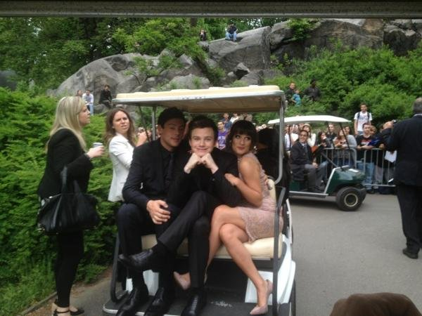 Lea Michele, Chris Colfer, and Cory Monteith hitched a ride together to the FOX Upfronts.  Source: Twitter user msleamichele