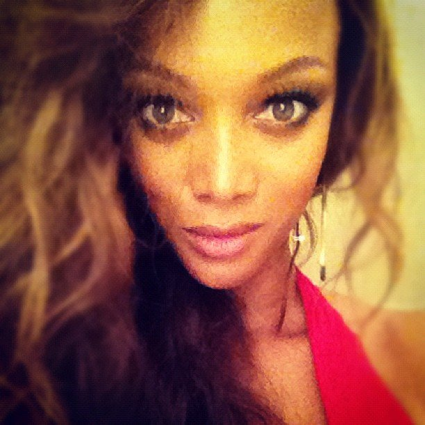 Tyra Banks struck a wide-eyed pose. Source: Instagram user tyrabanks