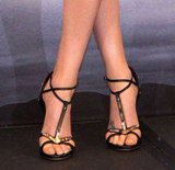 Her gold and black Giuseppe Zanotti heels offset the metallics in her skirt.