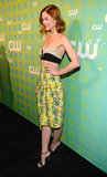 Jaime King wore a tiny top paired with a printed skirt.