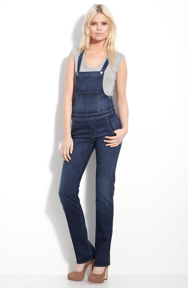 The fitted silhouette is ideal for showing off mile-long legs.  Mother Sweetheart Stretch Denim Overalls ($250)