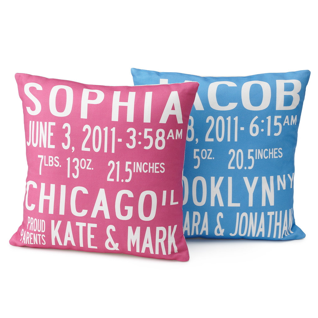 Uncommon Goods Birth Announcement Pillows ($80)