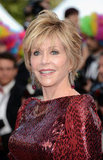 Jane Fonda looked gorgeous as ever in a red dress.