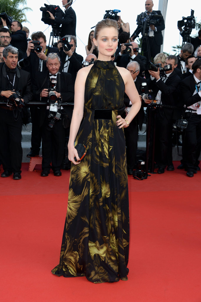Dark Shadows' Bella Heathcote attended the Madagascar 3 premiere in a halter-neck Gucci gown.