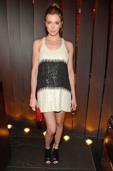 Katie Cassidy showed off a leg-baring sequined tank dress and open-toe booties at CW's Upfront fete.