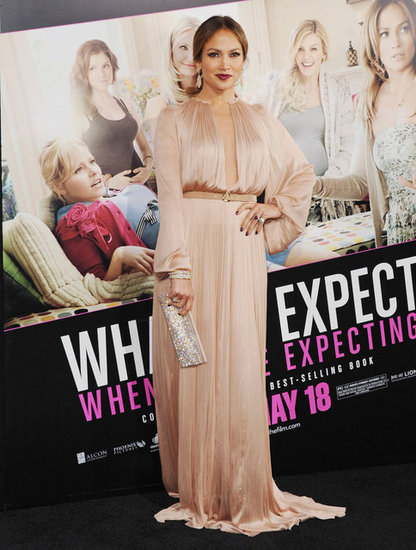 Jennifer Lopez made a memorable arrival at the What to Expect When You're Expecting premiere in a Maria Lucia Hohan maxi dress.