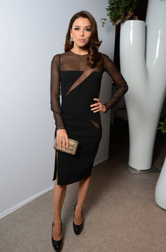 Eva Longoria opted for yet another sexy black number for her appearance at L'Oréal's anniversary dinner. She wore a sheer-sleeved Emilio Pucci sheath with black Brian Atwood pumps.