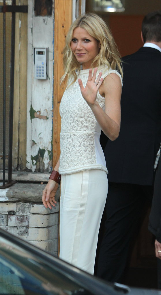 Gwyneth Paltrow waved before heading into a fundraising event in London on May 22.