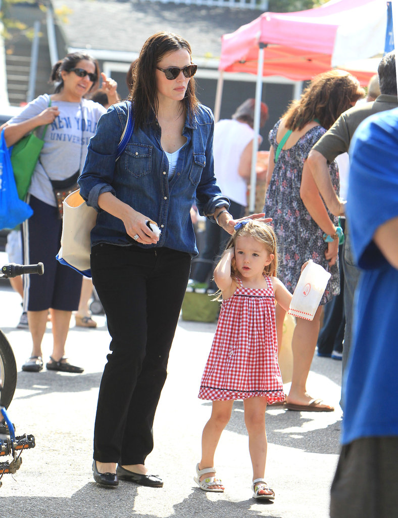 Jennifer Garner led Seraphina Affleck through their local farmers market.