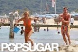 Geri Halliwell played on the beach with then-boyfriend Henry Beckwith during their June 2010 visit to St.-Tropez.