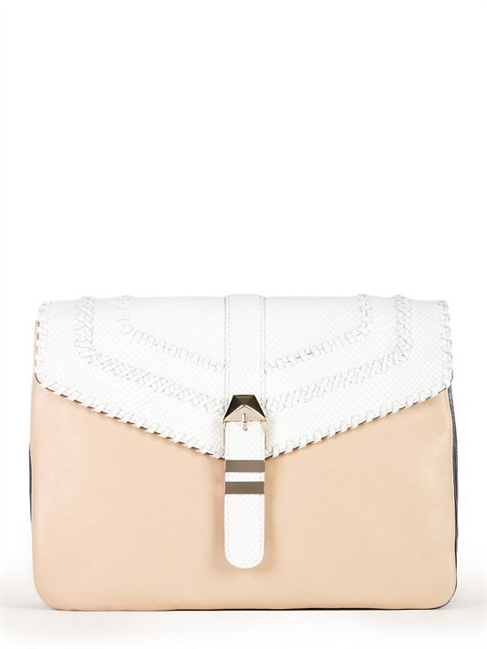 This would lend the prettiest finish to a sophisticated Summer sheath.  DKNY Mixed Material Buckle Clutch ($395)
