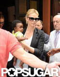 Charlize Theron and Jackson had a short layover in Madrid.