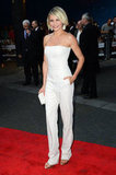 Cameron Diaz posed in her all-white ensemble at the What to Expect When You're Expecting premiere in London.