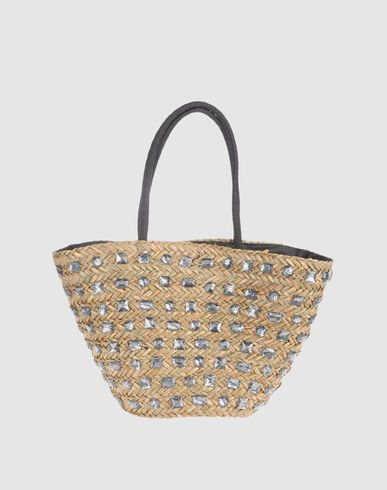 Shiny silver details make this straw shoulder bag an ideal beach-to-bar option.  Gianmarco Venturi Large Fabric Bag ($75)