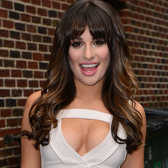 Pictures of Lea Michele in Sexy Low-Cut White Amen Dress Departing the David Letterman Show