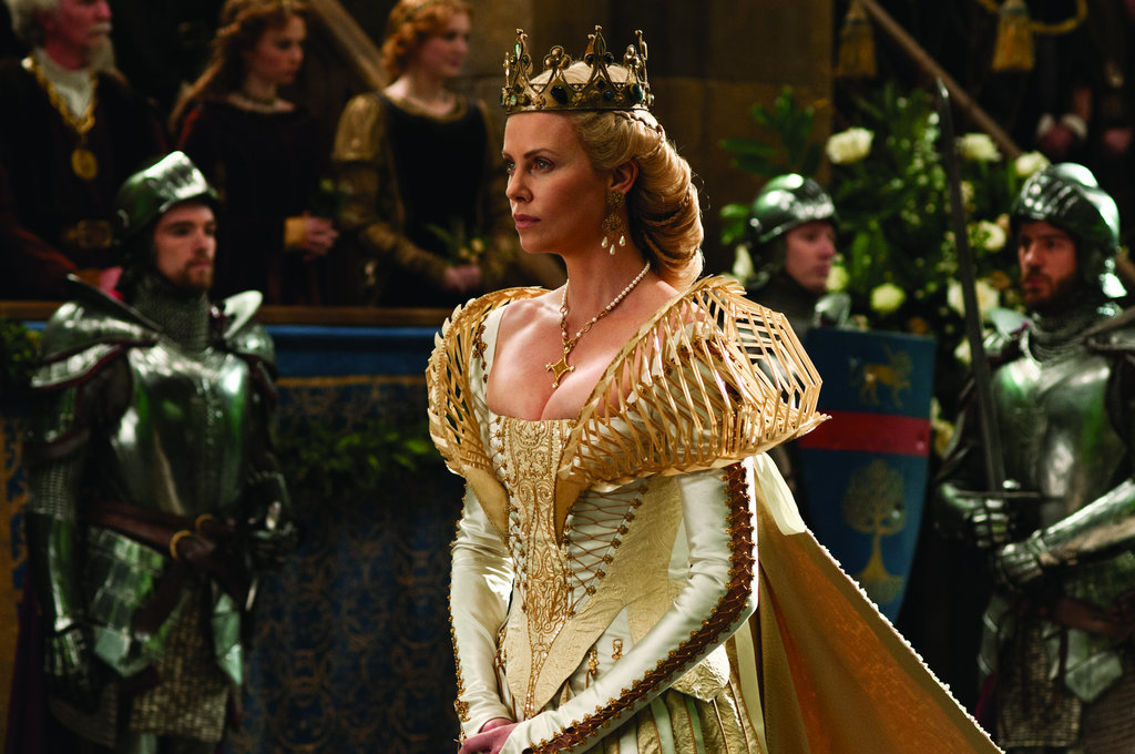 Ravenna's gowns are to-die-for gorgeous and intricate. This gold overlay looks a bit like an exoskeleton. Photo courtesy of Universal Pictures
