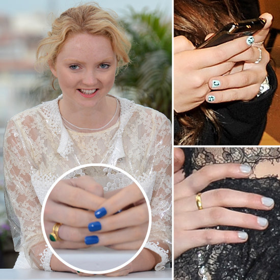 Lily Cole, Kristen Stewart, Chloe Green in Blue Nail Polish