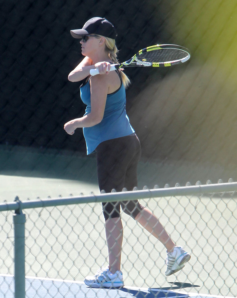Reese Witherspoon took a swing on the court in Brentwood.