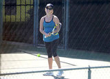 Reese Witherspoon showed off her moves on the tennis court in Brentwood.