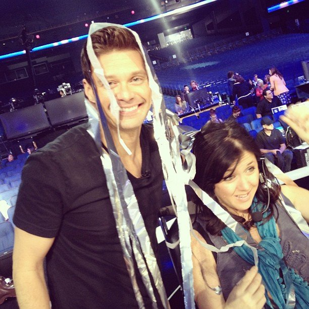 Ryan Seacrest was covered in streamers when cannons shot the wrong way during American Idol rehearsals.  Source: Instagram user ryanseacrest