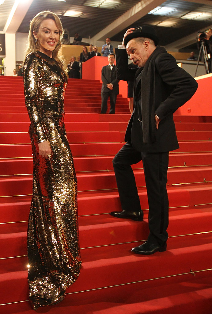 Kylie Minogue glowed on the red-carpet steps.
