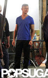 Joseph Gordon-Levitt wore a blue V-neck on set in Hollywood.