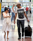 Eva Longoria chatted with Eduardo Cruz while the two walked through a train station in Spain.