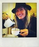 Gisele Bündchen enjoyed a cup of hot chocolate in Paris in May. Source: Twitter user giseleofficial